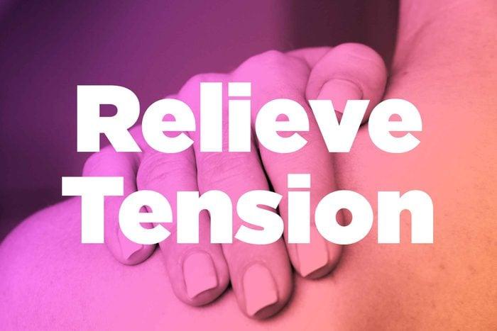 "Words ""relieve tension"" over image of hands rubbing shoulder"
