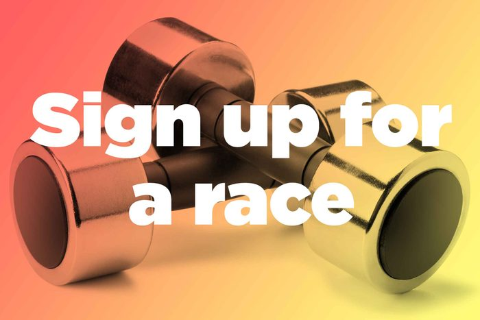 """Words """"sign up for a race"""" over weights"""