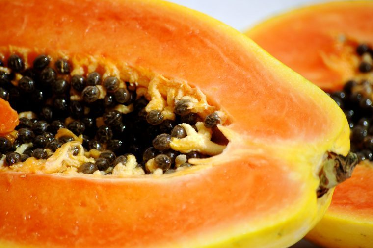 Papaya halves.