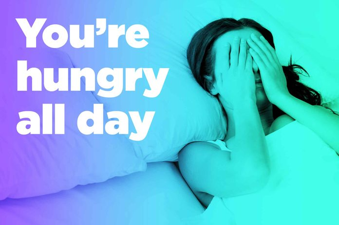 """graphic of woman in bed with hands over eyes and """"you're hungry all day"""""""