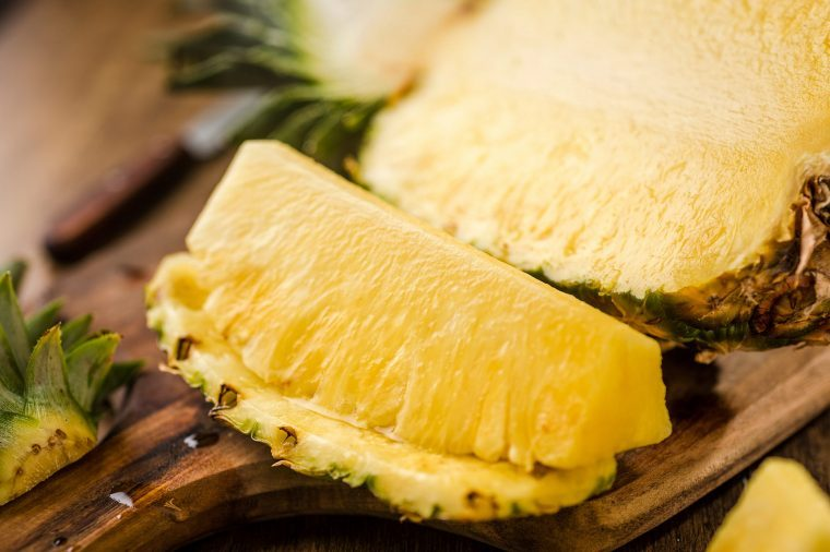 Sliced fresh pineapple.