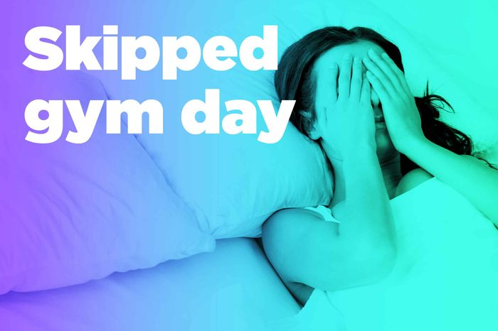 """graphic of woman in bed with hands over eyes and """"skipped gym day"""""""