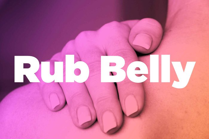 "Words ""rub belly"" over image of hands rubbing shoulder"