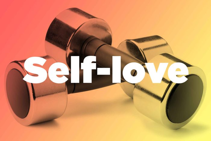 """Words """"self-love"""" over hand weights"""