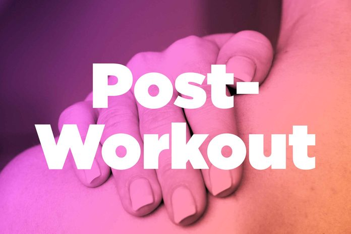 "Words ""post workout"" over image of hands rubbing shoulder"