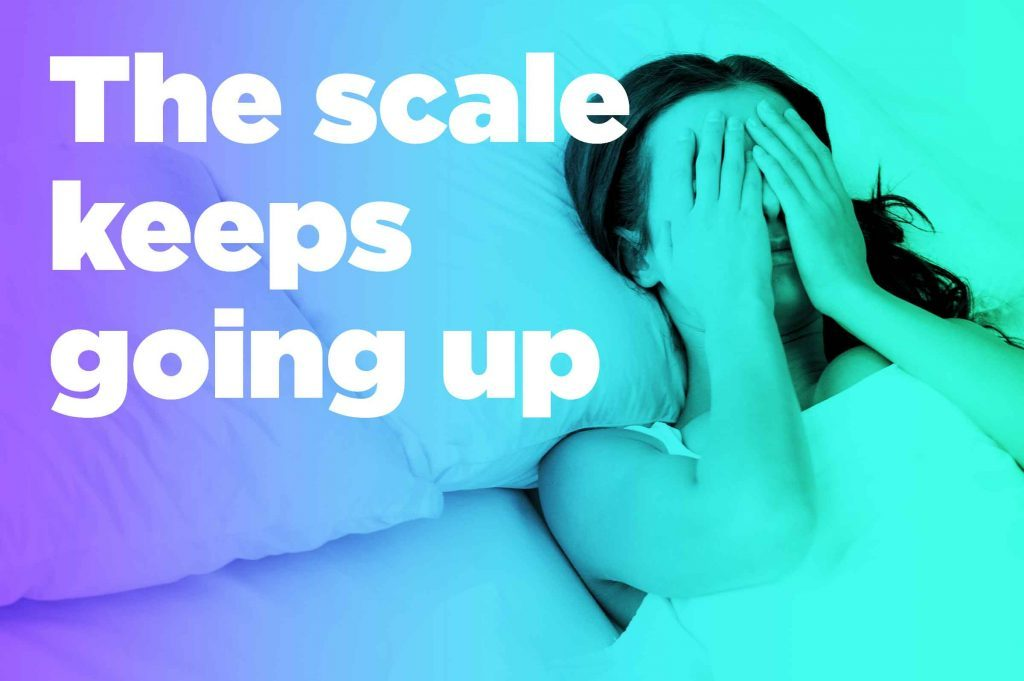 """graphic of woman in bed with hands over eyes and """"the scale keeps going up"""""""