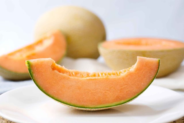 Slices of cantaloupe.