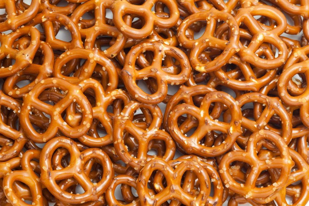 pretzels spread across a background