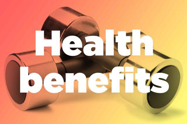 """Words """"health benefits"""" over hand weights"""