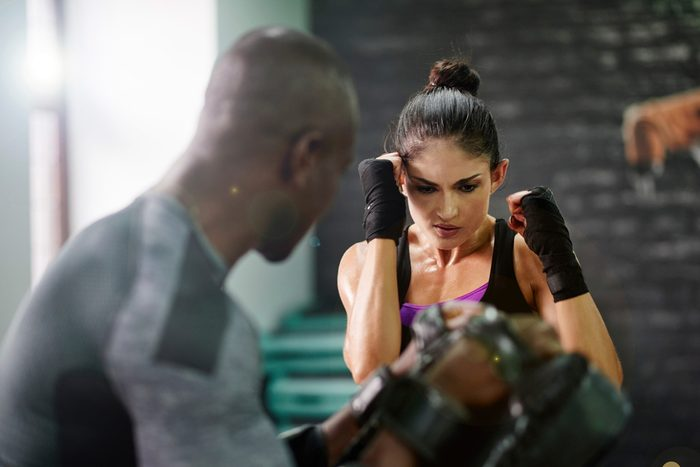 woman in a boxing class