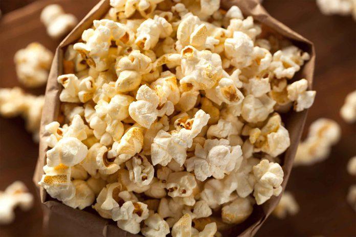 brown paper bag of popcorn