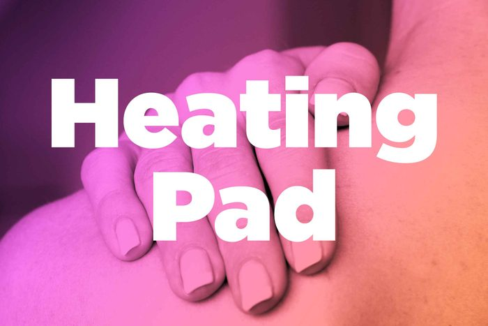 "Words ""heating pad"" over image of hands rubbing shoulder"