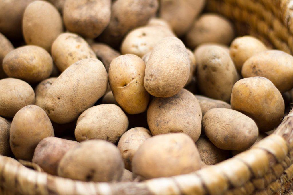 wicker basket of potatoes