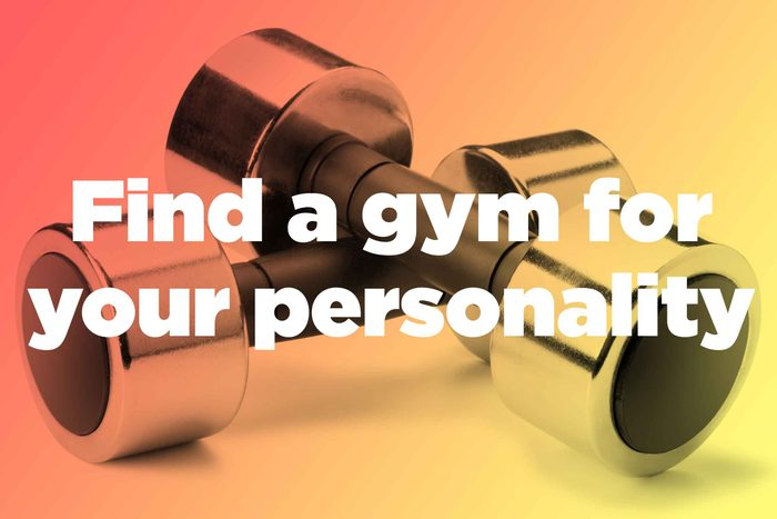 """Words """"find a gym for your personality"""" over hand weights"""