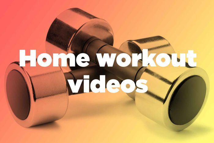 """Words """"home workout videos"""" over hand weights"""