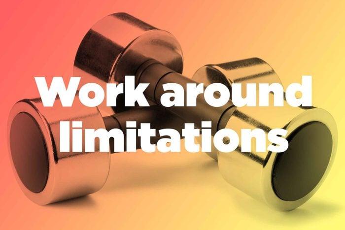 "Words ""work around limitations"" over hand weights"