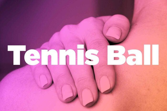 "Words ""tennis ball"" over image of hands rubbing shoulder"