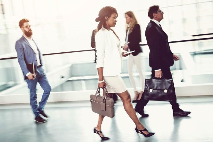 business people walking to work