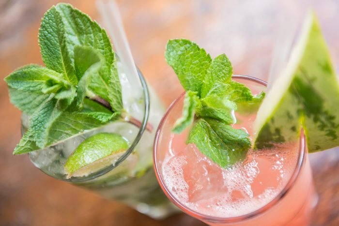 Pink drinks with watermelon and mint