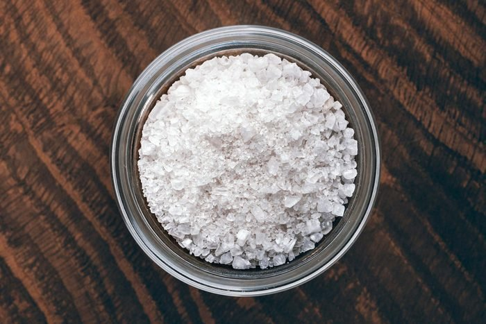 glass bowl with white salt