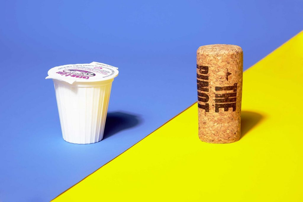 Illustration of portion control trick: creamer and wine cork