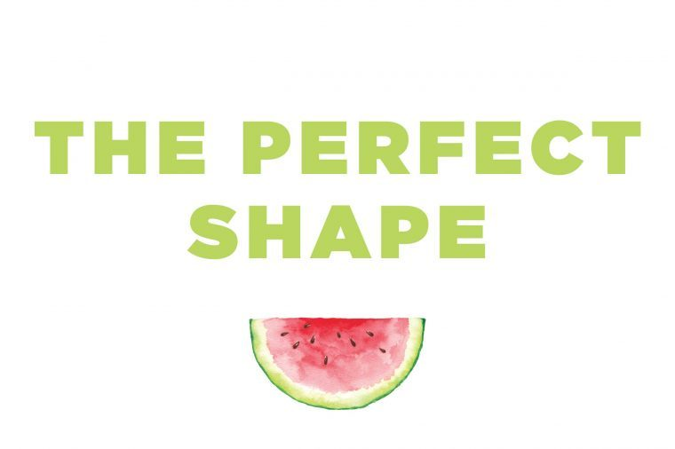 "Illustration of a watermelon slice with text: ""the perfect shape""."