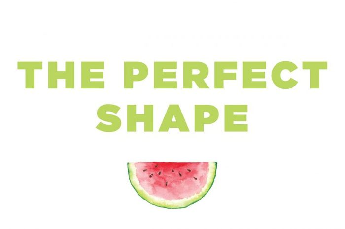 """Illustration of a watermelon slice with text: """"the perfect shape""""."""