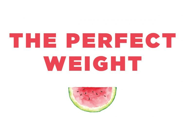 "Illustration of a watermelon slice with text: ""the perfect weight."""