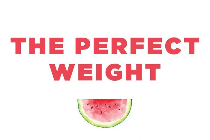 """Illustration of a watermelon slice with text: """"the perfect weight."""""""