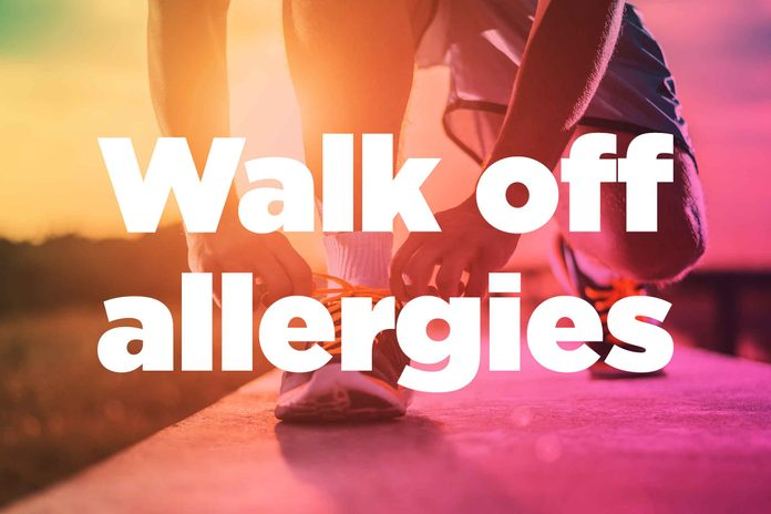 """Text on background image of runner: """"Walk off allergies."""""""