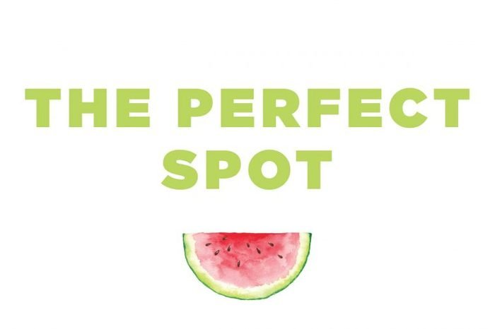 """Illustration of a watermelon slice with the text: """"the perfect spot."""""""