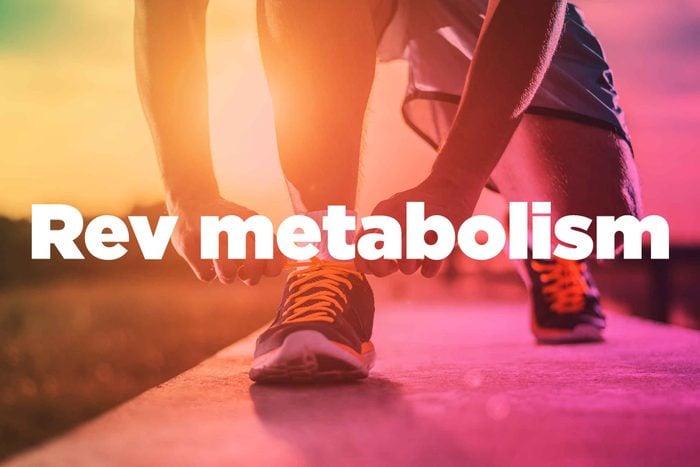 "Text on background image of runner: ""Rev metabolism."""