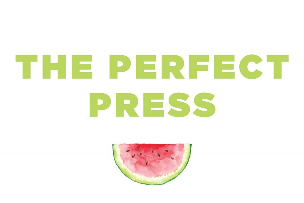 "Words ""The Perfect Press"" over a watermelon slice"