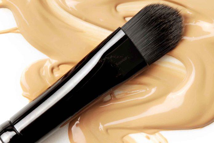 makeup brush over smeared makeup