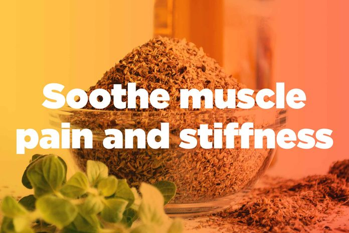 "graphic saying ""Soothe muscle pain and stiffness"""