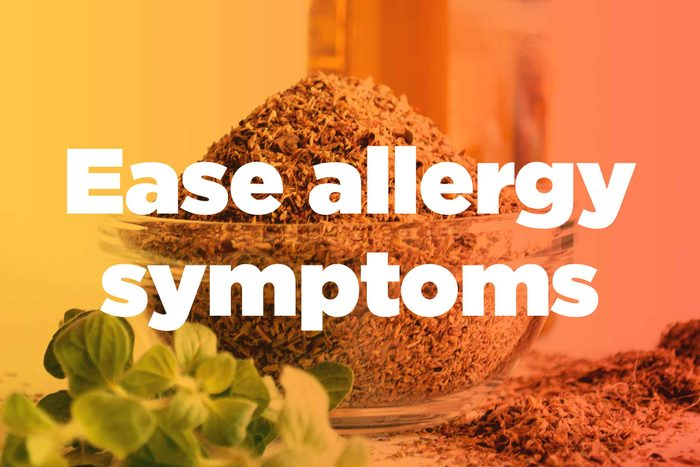 """graphic saying """"Ease allergy symptoms"""""""