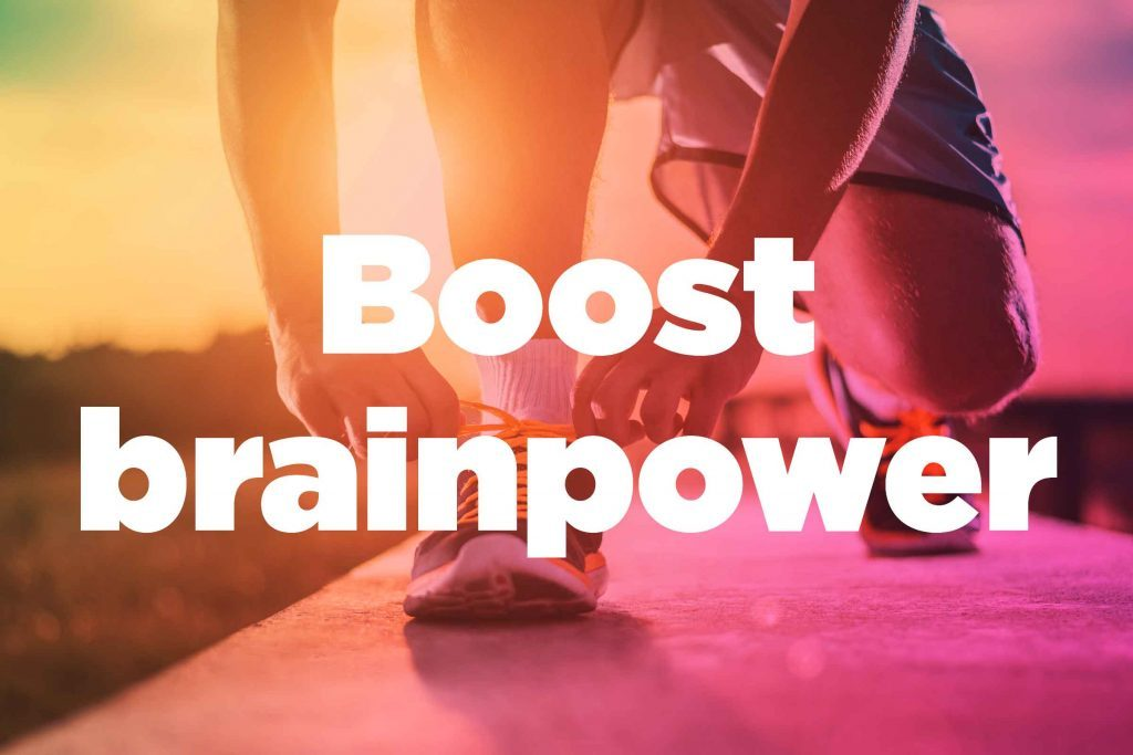 "Text on background image of runner: ""Boost brainpower."""