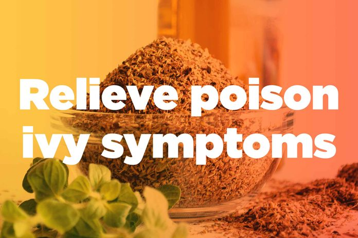 "graphic saying ""Relieve poison ivy symptoms"""