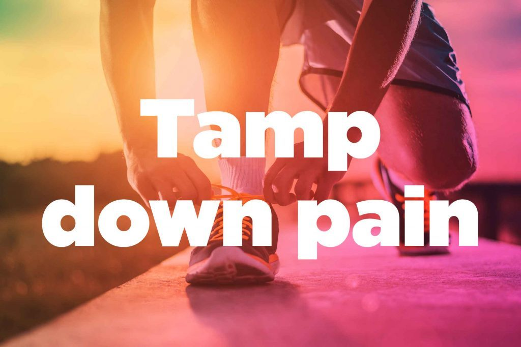 "Text on background image of runner: ""Tamp down pain."""