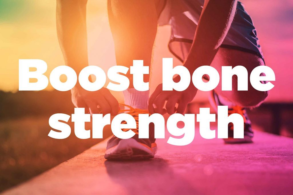 "Text on background image of runner: ""Boost bone strength."""