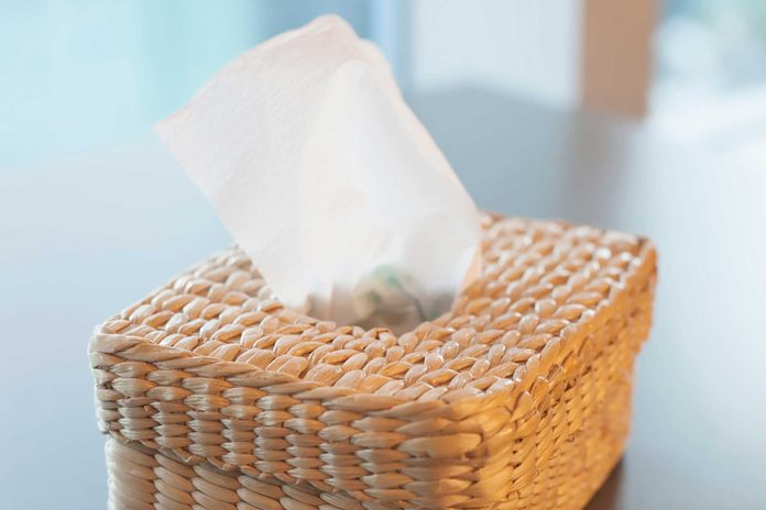 Wicker box of tissues on a table.