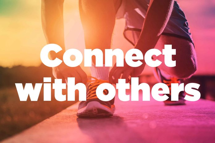 """Text on background image of runner: """"Connect with others."""""""
