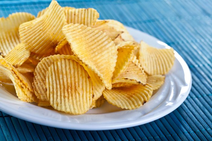plated of ruffled potato chips