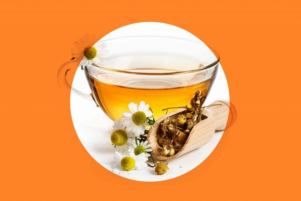 chamomile tea and blossoms