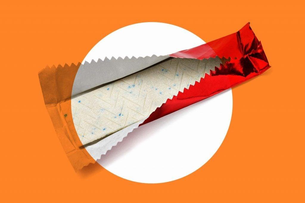 half-open foil-wrapped stick of gum