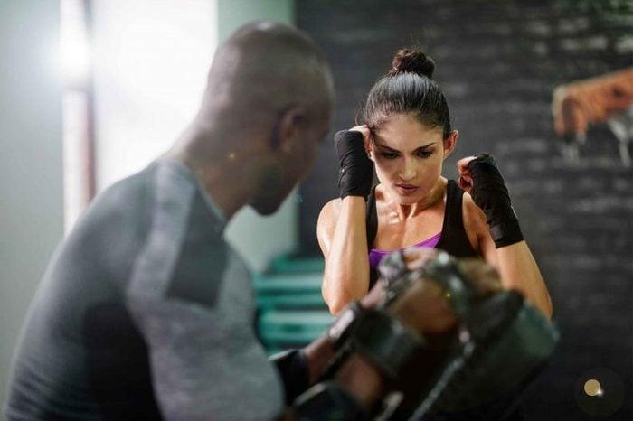woman in boxing class