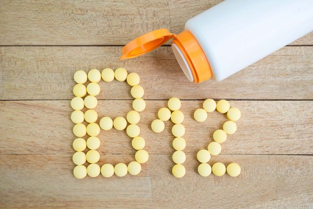 B 12 spelled out in vitamin pills.