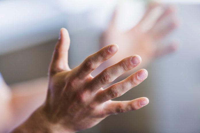 Closeup of hands.