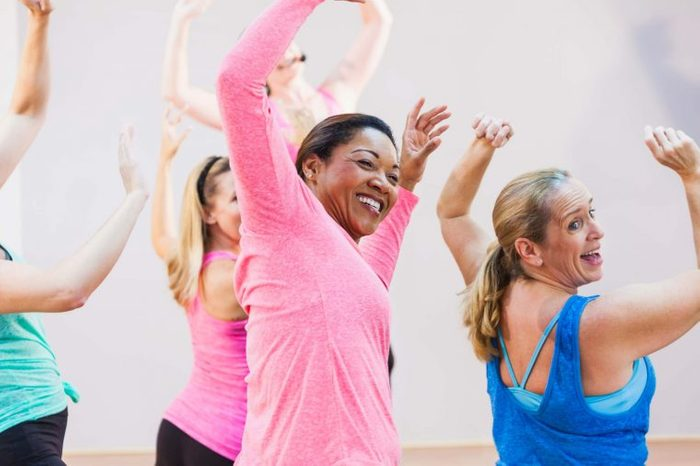 women at aerobic dance class