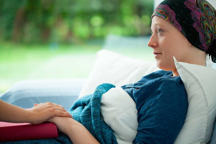 chemotherapy patient in bed